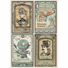 Stamperia Voyages Fantastiques Cards Rice Paper DFSA4368 | Etsy