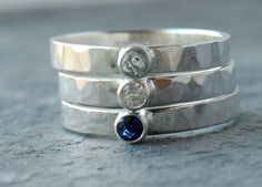 Any one of these could be a beautiful engagement ring. A stack of 2 could be a unique engagement/wedding ring set. Real Sapphires and Aquamarine Sterling Silver Stacking Ring Set.