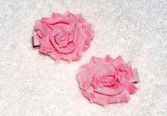 Shabby Hair Clip Set  2 inch Light Pink Shabby by ItsEspecially4U