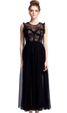 Black Sleeveless Lace Chiffon Dress//