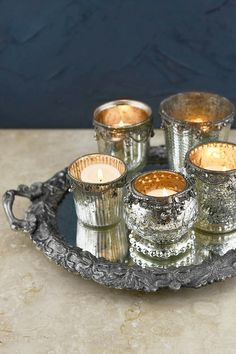 $55. Mirror Tray & 5 Mercury Glass Votive Holders Glam Mirror, Mirror Tray, Mirrors, Halloween Wishes, Vase With Lights, Glass Votive Holders, Save On Crafts, Standing Mirror, Candels