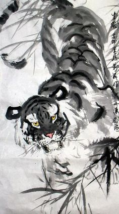 Chinese Tiger Paintings Artists | Tiger,50cm x 90cm(19〃 x 35〃),4695009-z