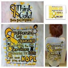 """""""Think Gold"""" Childhood Cancer Awareness T-shirt by Girlie Girl Originals  Please call Mercy Gift Shop at 417-820-2046 for more details!"""