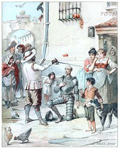 Jules David, frontispiece from El Quijote de la juventud (Don Quixote for the young folks), by Miguel de Cervantes Saavedra, excerpts select...