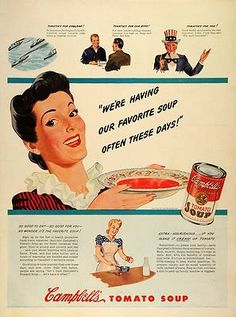 1942 Ad Campbells Canned Tomato Soup Uncle Sam Housewife WWII Military Navy Ship