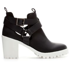 Zara High Heel Leather Ankle Boot With Track Sole (£32) ❤ liked on Polyvore