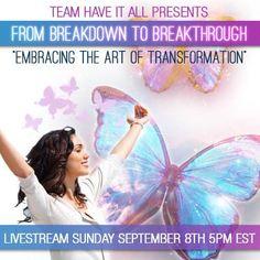 Starting in 30 MINUTES! Register for free here: http://socialmediabar.com/livestream-embrace-the-art-of-transformation