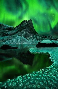 The Nature is the best Artist...Green Vision by Marc Adamus. Aurora borealis reflected on a frozen lakeshore in the Yukon Territory.