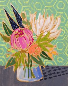 pretty floral painting by Lulie Wallace