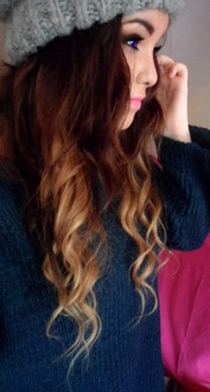 brunette . blonde dipdye . curls