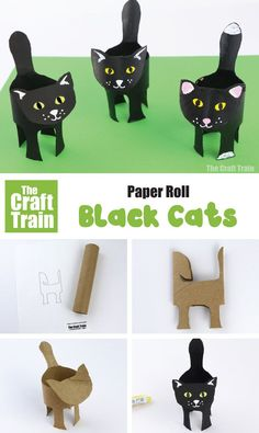 Easy black cat craft made from a recycled paper roll – a perfect Halloween craft for kids! Make a cute black cat craft from a paper roll. This is a fun and easy Halloween craft for kids and includes a printable template for the cat shape Ghost Crafts, Spider Crafts, Cat Crafts, Easy Crafts For Kids, Toddler Crafts, Diy For Kids, Crafts To Make, Decor Crafts, Cardboard Tube Crafts