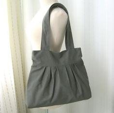 Sale 10% - Grey Canvas Pleats Bag - Double Straps, purse, diaper bag, everyday bag - April. $29.00, via Etsy.