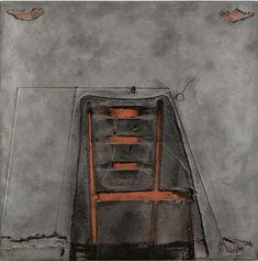 Antoni Tàpies (Catalan-Spanish, 1923-2012), Impresión de silla, 1980. Mixed media on board, 130 x 130 cm.