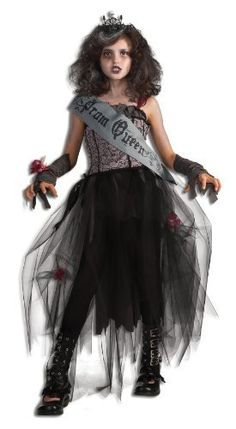 Rubie's Deluxe Goth Prom Queen Costume Rubie's Costume Co. $24.99. Gray and black Sash reads: Prom Queen. Costume includes dress, sash, glovelettes, wrist corsage, and tiara. Shoes not included. Deluxe costume is available in children's sizes small, medium, and large. Rubie's brings fun to dress-up with costumes and accessories kids play with all year long