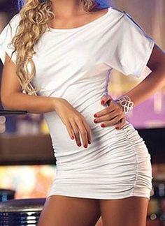 Vestido de lycra al cuerpo, drapeado - MORANNDA CLOTHES