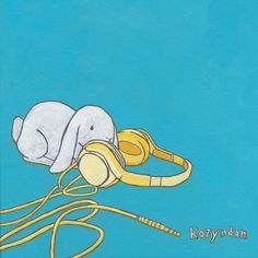 Bunny with Headphones by Kozyndan.  I keep hoping they'll reprint this as a poster.