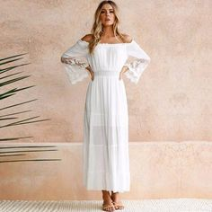 Summer Sundress Long Women White Beach Dress Strapless Long Sleeve Loose  Sexy Off Shoulder Lace Boho Cotton Maxi Dress cb1381594f03