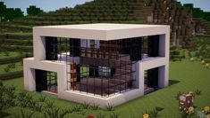 *Updated* Modern House Minecraft Project – Ashley Toews - Minecraft World Modern Minecraft Houses, Minecraft House Designs, Minecraft Houses Blueprints, Minecraft Architecture, Minecraft Buildings, Minecraft Drawings, Modern Houses, Minecraft Plans, Minecraft Mansion