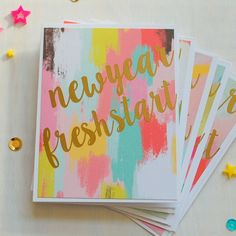Happy New Year Cards: New year, Fresh Starts. Thankful note cards set of 5 with Gold Foil By Hotwheelsandglueguns