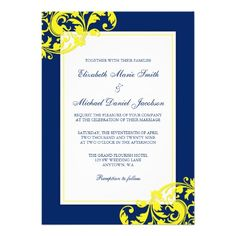 Trendy navy blue and yellow wedding invitations. Featuring a modern preppy navy blue with yellow flourish swirls. Easily customize for your wedding day. Flourish by (c) Mujka Design Color: blue/navy/yellow. Vegas Wedding Invitations, Custom Invitations, Bridal Shower Invitations, Invites, Yellow Bridal Showers, Blue Yellow Weddings, Blue And Copper, Invitation Paper, Wedding Designs