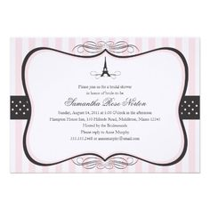 Shop Eiffel Tower Paris Bridal Shower Invitation created by labellarue. Personalize it with photos & text or purchase as is! Paris Bridal Shower, Bridal Shower Cards, Bridal Shower Invitations, Bridal Showers, Personalized Invitations, Custom Invitations, Invites, Dinner Invitations, Black Bridal Parties