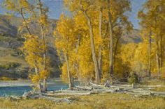 "Landscape painting by Clyde Aspevig | ""Yellowstone River Driftwood"""