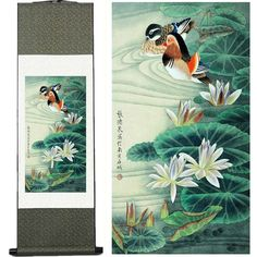 Chinese watercolor on silk ... water lilies and Peking Ducks ... card making inspiration ... on sale direct from China ...