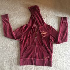 """Victoria's Secret PINK Jacket Maroon Color Victoria's Secret PINK jacket, maroon colored, zip up, size small, """"PINK"""" written in gold on back, velvet material, in very good condition. PINK Victoria's Secret Jackets & Coats"""