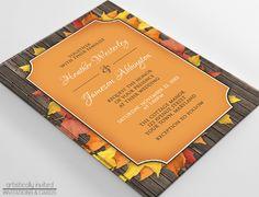 Autumn Wedding Invitations - Autumn Orange Wood Leaves