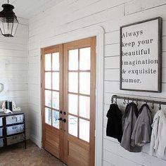 Magnolia Homes - entrances/foyers - rustic wood planked walls, white wood planked walls, white wood paneled walls, wood planked walls, wood ...
