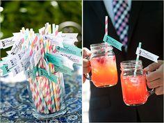 green wedding drinks, personalised drinks, paper straws,