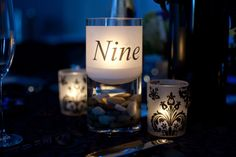 Candle Table Numbers // wedding, romantic, black and white, tablescape Candle Centerpieces, Christmas Centerpieces, Centerpiece Decorations, Reception Decorations, Wedding Centerpieces, Unique Table Numbers, Wedding Table Numbers, Wedding Seating, Wedding Reception