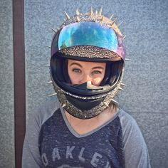 Jen's crazy rhinestone and spike motorcycle helmet on themotolady.com