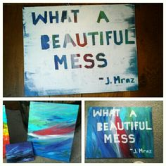 Did this one myself!! Very easy to do.  Paint canvas, tape letters, paint over tape and canvas, then peel tape