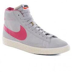Nike Blazer High PRM Suede Vintage Gris Rose femmes Chaussures Vente Outlet