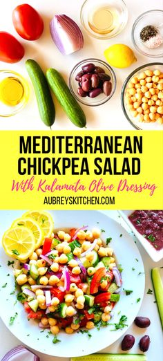 Looking for an easy and healthy summer salad recipe? This Greek Mediterranean chickpea (garbanzo bean) salad is topped with flavorful lemon Kalamata olive dressing. Packed with tomato, cucumber and onion, it makes for the perfect appetizer or a main course. Top it off with grilled chicken, grilled Salmon, quinoa or hard boiled eggs for some extra protein! Vegan and Whole Food plant based. Best Salad Recipes, Summer Salad Recipes, Easy Healthy Recipes, Veggie Recipes, Whole Food Recipes, Beef Recipes, Dinner Recipes, Mediterranean Chickpea Salad, Mediterranean Recipes
