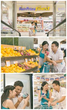 Fun lifestyle pre-wedding photo shoot at a supermarket.