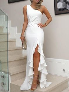 Sexy evening party dress Plus size one shoulder ruched ruffled bodycon dress Elegant ladies solid maxi dress vestidos Elegant Dresses, Sexy Dresses, Beautiful Dresses, Formal Dresses, Wedding Dresses, Wedding Shoes, 50s Dresses, Long Dresses, Summer Dresses