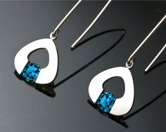 Argentium silver and London blue topaz earrings designed by David Worcester for VerbenaPlaceJewelry.Etsy.com