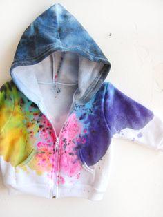 The Original Splash Dyed Hand PAINTED Fleece Zip by twostringjane,