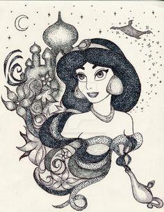 Princess Jasmine Artwork by ~PrinceSsCarmilla on deviantART Princess Jasmine Tattoo, Princess Tattoo, Princesse Walt Disney, Princesa Disney, Disney Jasmine, Aladdin And Jasmine, Disney Love, Disney Art, Pocahontas