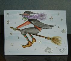Cartoon hand painted witch card (ref 688) £1.50