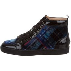 Pre-owned Christian Louboutin Orlato Velvet Sneakers ($625) ❤ liked on Polyvore featuring men's fashion, men's shoes, men's sneakers, black, mens black high top sneakers, mens black high top shoes, mens velvet shoes, mens lace up shoes and mens high tops