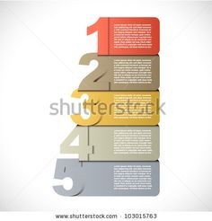 Colorful presentations with five text box by Vass Zoltan, via ShutterStock