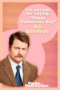 """Parks and Recreation"" Valentine's Day card -- Ron Swanson"