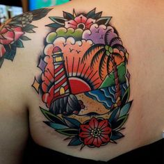 Palm tree tattoo designs it talks about surf, sun, and fun. Here is a superb collection of palm tree tattoos you can select from. Tree Tattoo Men, Tree Tattoo Designs, Tattoo Designs And Meanings, Tattoos With Meaning, Traditional Tattoo Beach, Traditional Lighthouse Tattoo, Traditional Tattoos, Couple Tattoos, Tattoos For Guys