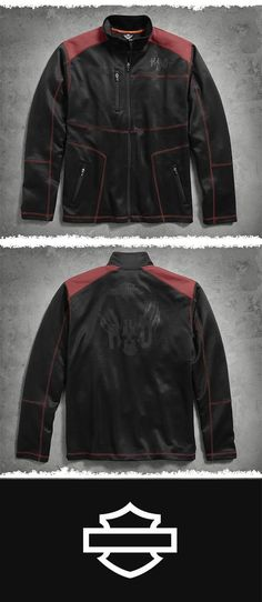 Styled with a subtle motocross influence, this jacket plays well with joggers or jeans. | Harley-Davidson Men's Performance Infrared Zip-Front Jacket