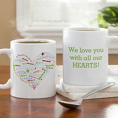 How cute! You can personalize this Her Heart of Love© Personalized Coffee Mug from PMall with all your kids names and they mold them into the shape of this cute heart! You can add any message to the back of the mug too! This would be a great gift idea for Mom or Grandma! #Coffee #Mom #Grandma #Heart