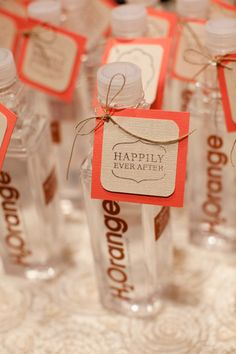 Instead of party favors, this couple chose to support their University with H2Orange water bottles for their guests, WDYT about this?