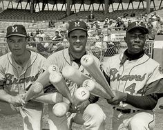 Third baseman Eddie Matthews, catcher Joe Torre, and outfield Hank Aaron of the Milwaukee Braves.